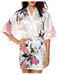 Peacock Satin Kimono Robe Bridesmaid Robes/ Wedding Robe/ Bride Robe Sleepwear