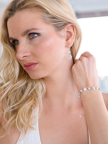 Mariell Ivory Pearl & Round CZ Bridal Bracelet & Earrings Set - Wedding Jewelry Sets for Bridesmaids by Mariell (Image #1)