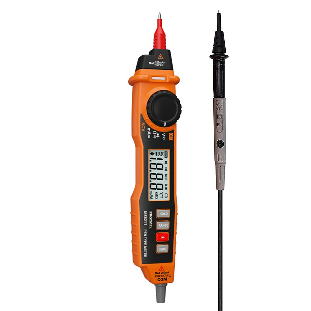 Digital Multimeter Protmex MS8211 Pen Type Multimeter with NCV and Auto Ranging, AC DC Voltage Current Tester, Diode/Continuity Pen Multitester