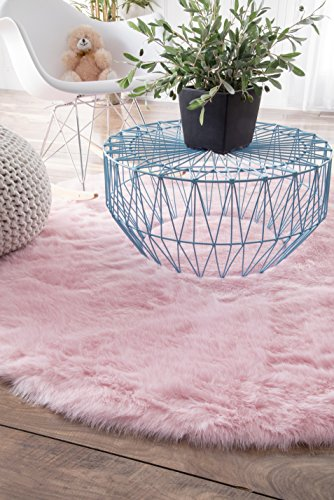 Cheap Nuloom 5′ x 5′ Cloud Shag Round Rug in Pink