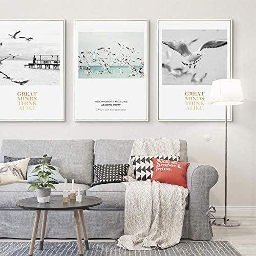 海辺の風景カモメ風景キャンバス絵画壁アートポスター印刷画像オフィス家の装飾-50x70cmx3ピースフレームなし