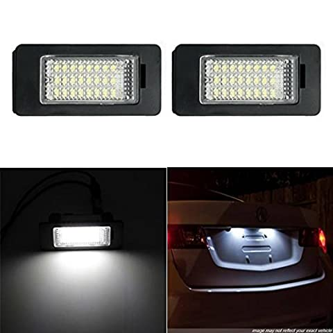 Partsam 2PCS License Plate Lights Assembly 24-SMD Error Free LED Lamp Set for BMW E39 E60 E90 1 3 5 X - Bmw 525i 2009