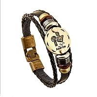 Streetsoul Choose Your Zodiac Star Sun Sign Wristband Handmade Black Leather Gift For Men Boys.