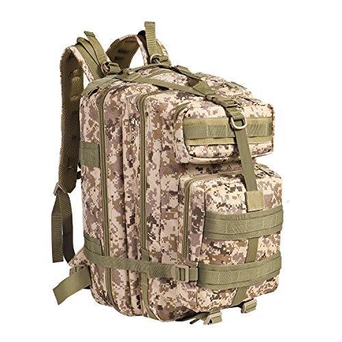 (Flexzion Tactical Backpack (Desert Camo) Large Army Assault Pack 40L w/MOLLE Gear Attachment System, Bug-Out Bag Daypack Rucksack for Outdoor Hiking Trekking Camping Hunting)