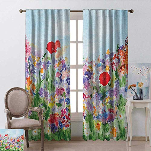- Watercolor Flower, Window Treatments Curtains Valance, Floral Summer Garden with Grass and Blooms Love Illustration Print, Curtains and Drapes for Living Room, W84 x L96 Inch, Red Green Purple