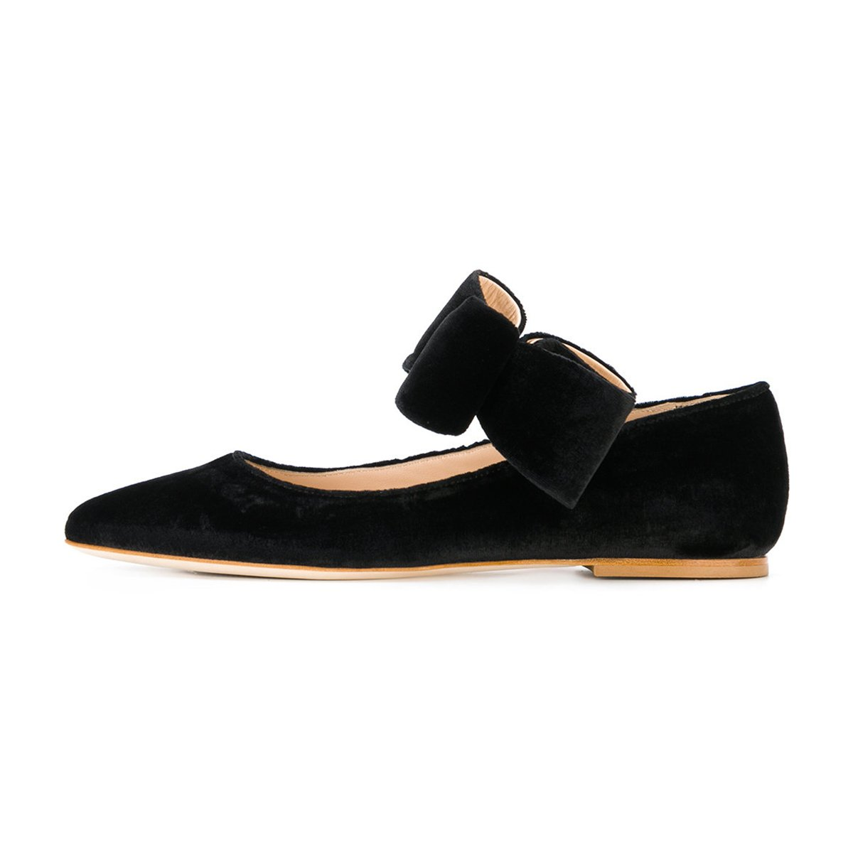 FSJ Women Cute Pointed Toe Flats With Bowknot On Velvet Low Heels Slip On Bowknot Comfy Shoes Size 4-15 US B076QBRQXG 6 B(M) US|Black 867813