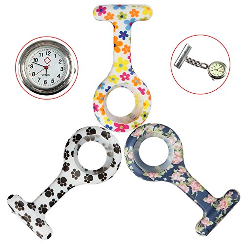 Silicone Nurses Doctors Brooch Quartz Fob Pocket Clip on Watches (1 Watch and 2 Replace Cases) by NURWAT (Image #1)
