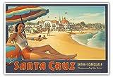 Visit Santa Cruz, California - Beach & Boardwalk - Playground of the West - Vintage World Travel Poster by Kerne Erickson - Master Art Print - 13 x 19in offers
