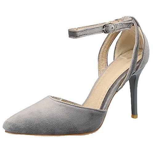 COOLCEPT Damen Mode Heels Pumps Schuhe Straps Grey