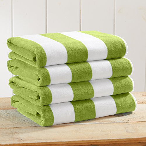 Great Bay Home 4-Pack 100% Cotton Plush Cabana Stripe Velour Beach Towel (30x60) Brand. (Green)