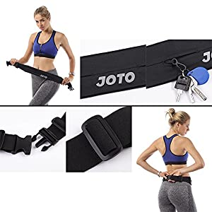 JOTO Running Belt Exercise Runner Belt Sport Waist Pack for Apple, iPhone 7, 6S plus, 6 SE, Samsung Galaxy, Google Pixel XL, Flip Belt for Men Women Workout Cycling Hiking Walking Fitness, Black