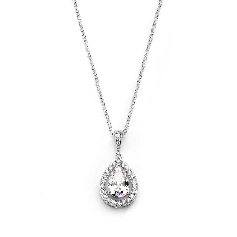 Mariell CZ Bridal Necklace Pendant Pave Frame Halo Bold Pear-Shaped Teardrop - Platinum Plating
