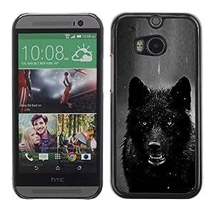 TopCaseStore / la caja del caucho duro de la cubierta de protección de la piel - Black White Winter Wolf - HTC One M8