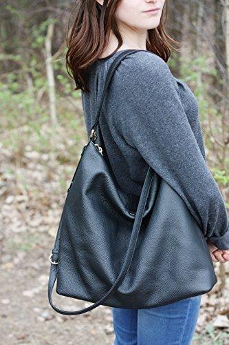 NELA - Black Leather Hobo Bag (Large)