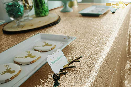 ShiDianYi Light Gold Rectangular Tablecloth 90x132-Inch Table Linens 6FT Sequin Champagne Gold Table Cloth ~0815S by ShiDianYi (Image #3)