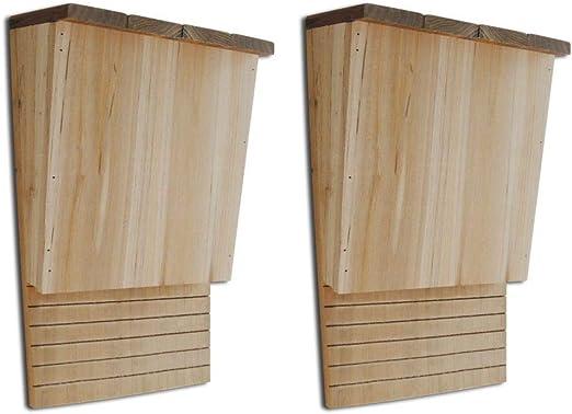AYNEFY Casa de murciélagos, juego de 2 cajas de madera para murciélagos, refugio fácil para murciélagos a tierra y techo, 8.7 pulgadas x 4.7 pulgadas x 13.4 pulgadas: Amazon.es: Jardín