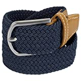 E-Living Store Men's 32mm Woven Expandable Braided Stretch Belts, (Available in Multiple Colors & Sizes), Navy, Medium (Waist Size 34-36'')