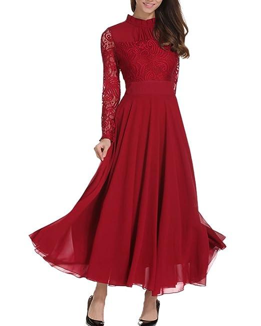 Aofur Elegent Vintage Donna Pizzo Chiffon Vestito Lunge Abito Da Cerimonia  Festa Matrimonio 36-52  Amazon.it  Abbigliamento 1ed4b525c19