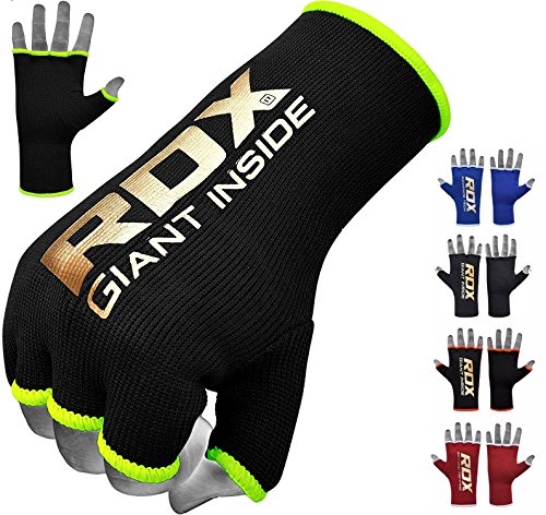 RDX Boxing Inner Mitts Hand Wraps MMA Fist Protector Bandages, Large, Black/Green