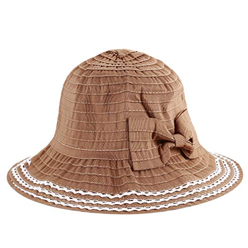 UINKE Womens Sun Hat Crushable Cotton Bow Summer Bucket Holiday Hat for Fishing Foldable with Chin Strap