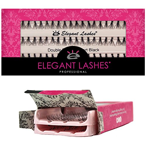 Elegant Lashes Double Flare Extra-Short Black Individual Eyelashes (Double Pack - 2 Trays)