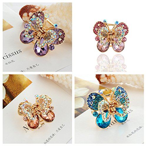 - Casualfashion 4Pcs Rare Crystal Rhinestone Butterfly Bangs Clip Bow Hair Claw Gripper for Girl Women 1.26×1.10 inch