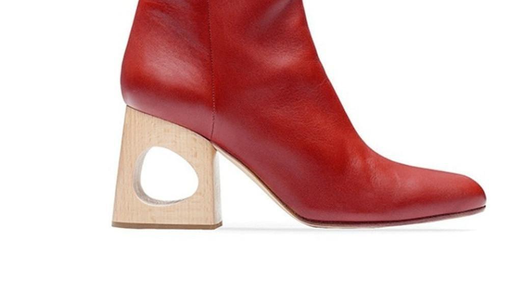 Damen Kurze Kurze Kurze Stiefel Neue Mode Spitze Zehe Mid Rough Geformte Ferse Echtes Leder Schwarz rot Herbst Winter d77cc8