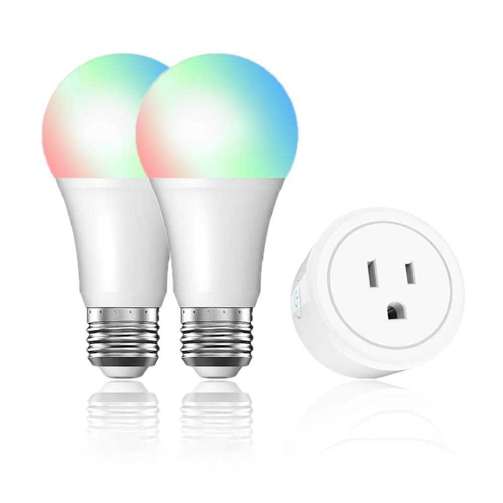 WiFi Smart Home Kit Mini Smart Outlet Plug and 2-Pack Smart Bulbs 60W Equivalent 16W RGB LED Light for most lamps & overhead lights,Compatible with Alexa Google Home IFTTT