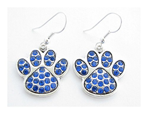 [Blue Paw Print Crystal Fashion Earrings Jewelry UK Kentucky Wildcats Sporty] (Tiffany Blue Costume Jewelry)