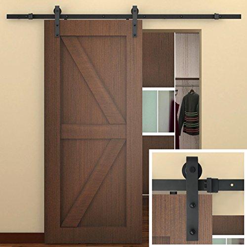 amazoncom 8 ft sliding barn door hardware black j shape hangers 1 x 8 foot rail home improvement