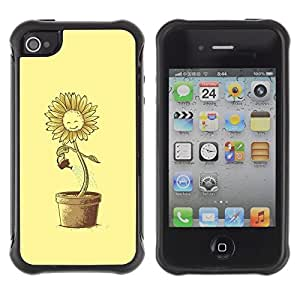 Fuerte Suave TPU GEL Caso Carcasa de Protección Funda para Apple Iphone 4 / 4S / Business Style Sun Flower Pot Watering Can Yellow Happiness
