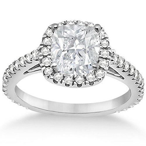 (Cushion Cut Diamond Engagement Ring Setting for Women Palladium Diamond Bridal Band 0.60cw)