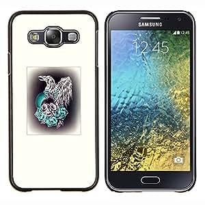 Planetar® ( Aves rapaces Hawk Cráneo blanco impresiones ) Samsung Galaxy E5 E500 Fundas Cover Cubre Hard Case Cover