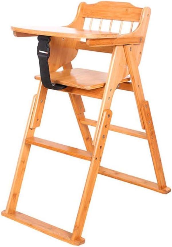 ベビーチェアハイチェア子ども椅子子供お食事椅子 赤ちゃん木製折りたたみハイチェア、幼児用ポータブル多機能給餌高低チェア、安全ハーネス付き、天然木
