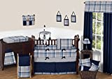 Sweet Jojo Designs 9-Piece Rustic Designer Navy Blue and Gray Boys Plaid Baby Bedding Crib Set