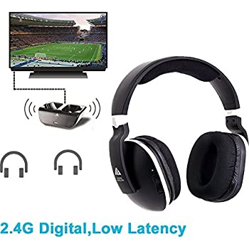 Wireless Headphones for TV with RF Transmitter For Netflix Hulu Watching and Listening-Digital Over Ear Cordless TV Headphones Rechargeable 20 Hour Battery ...