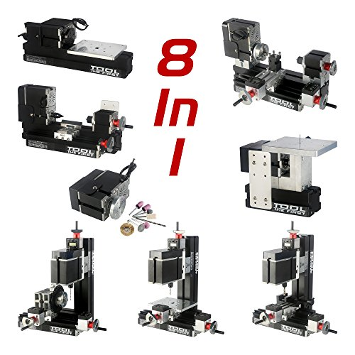 ZhouYu 8 in 1 kit DIY 60W electroplated metal Mini lathe kit, Mini Combination Machine Tools, Mini Lathe, Milling, Drilling, Dividing Drilling, Wood Turning, Jigsaw, Sanding Machine, TZ8000MP by Zhouyu