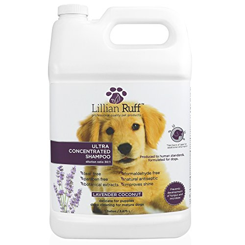 - Lillian Ruff Professional Dog Shampoo - Concentrated Dog Shampoo with Aloe - Safe for Cats - Tear Free Lavender Coconut Scent - Soothe & Cleanse Normal to Dry Itchy Sensitive Skin - Made in USA