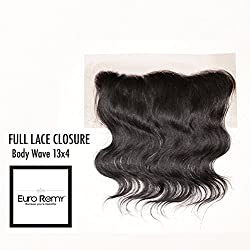 EURO REMY Brazilian Virgin 100% Unprocessed Human Hair Extensions - 13x4 Lace Frontal Closure Free Part - Bodywave - 14 inches Natural