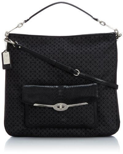 Coach Madison Op Art Pearlescent Hobo Silver/Black (Madison Coach Handbag)
