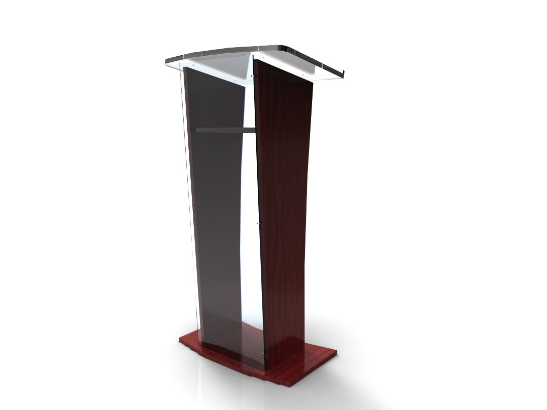 FixtureDisplays Acrylic/Podium/Lectern/Pulpit/Plexiglass/Lucite/Clear 1803-5 Wood Shelf Frame - Ship UNASSEMBLED/Flat 1803-5b by FixtureDisplays