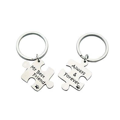 6c9dd0e731 Huiuy Best Friend Keychain Matching Jigsaw Puzzle Keychain Set BFF Keychain  Christmas Friend Gift for Best