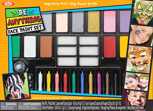 [Ideal Face Painting Kit Mega Party Pack] (Two Face Costume For Kids)