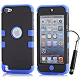 iPod Touch 5th 6th Generation Case, iPod Touch 5/6 Case Genuine ZAFOORAH Hybrid Shockproof Hard Defender 3 Layers with 3 Bonus items Stylus, Screen Protector, Microfiber Cloth (Double Clip - 3 Layers - Black/Dark Blue)