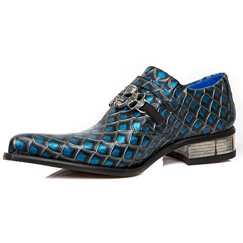New Rock Leder Stiefel Blau