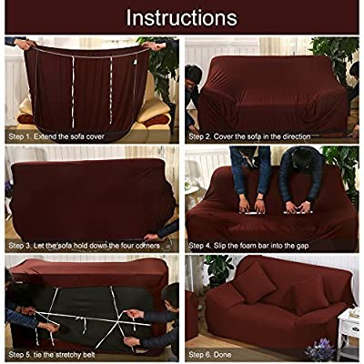 ELEOPTION Stretch Fabric Sofa Slipcover 1 2 3 4 Piece, Elastic Sectional  Sofa Cover Slipcover Protector Couch Pure Color For Moving Furniture Living  Room