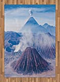 Volcano Area Rug by Lunarable, Bromo Batok and Semeru Volcanoes Java Island Indonesia Magma Activity, Flat Woven Accent Rug for Living Room Bedroom Dining Room, 5.2 x 7.5 FT, Pale Blue Mauve White