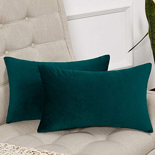 - WLNUI Set of 2 Rectangle Soft Velvet Solid Teal Blue Decorative Oblong Lumbar Throw Pillow Covers Set Cushion Case for Sofa Couch Home Decor 12x20 Inch 30x50 cm