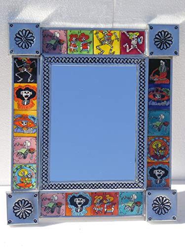 """PUNCHED TIN MIRROR with day of the dead talavera tile mexican folk art 14"""" X 12"""""""