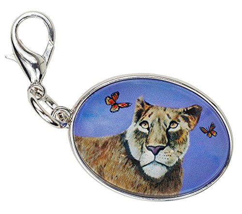 (Lioness Zipper Pull Charm, Bag Charm -Animal - Wearable Art (Lioness)
